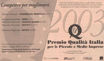 premio qualità italiana Inoxea